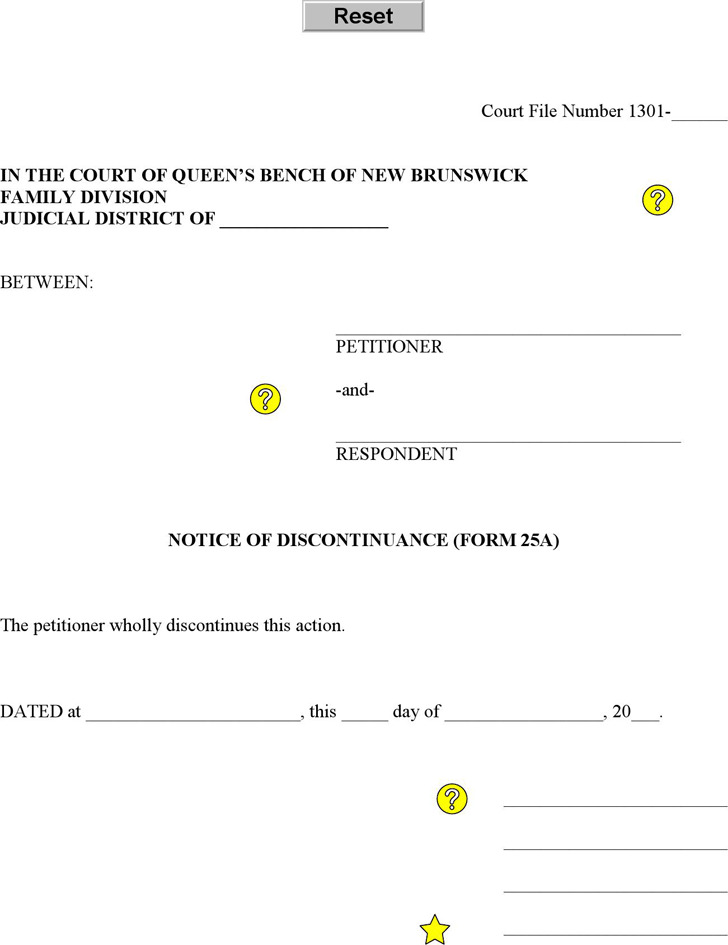 New Brunswick Notice of Discontinuance Form