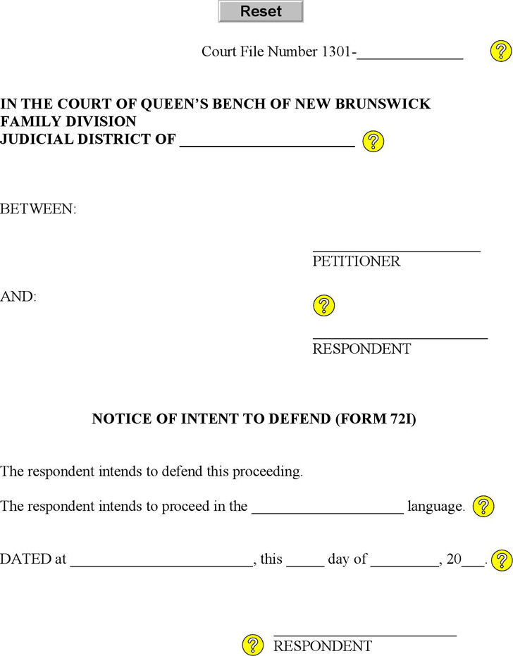 New Brunswick Notice of Intent to Defend Form