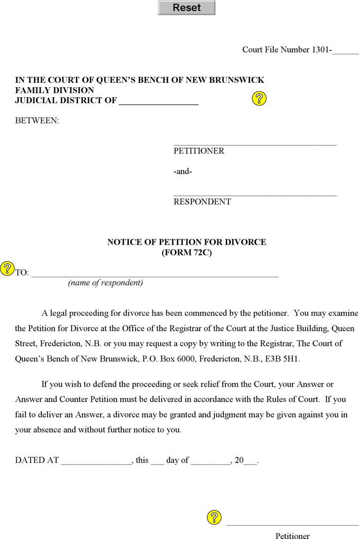 New Brunswick Notice of Petition For Divorce Form