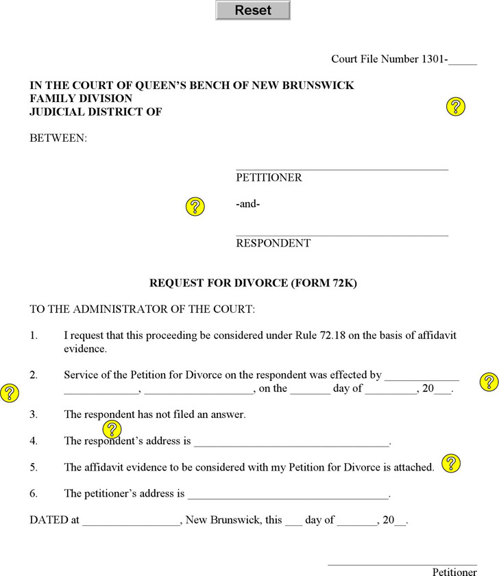 New Brunswick Request for Divorce Form