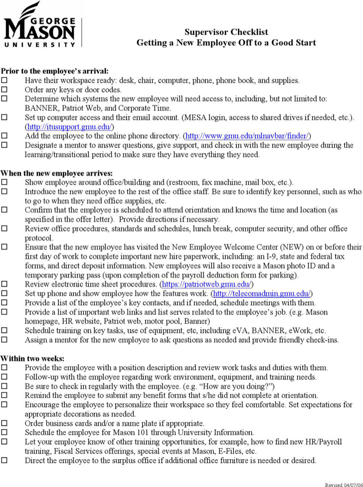 New Employee Supervisor Checklist Template