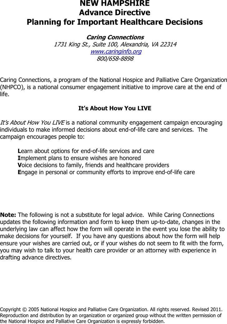 New Hampshire Advance Health Care Directive Form