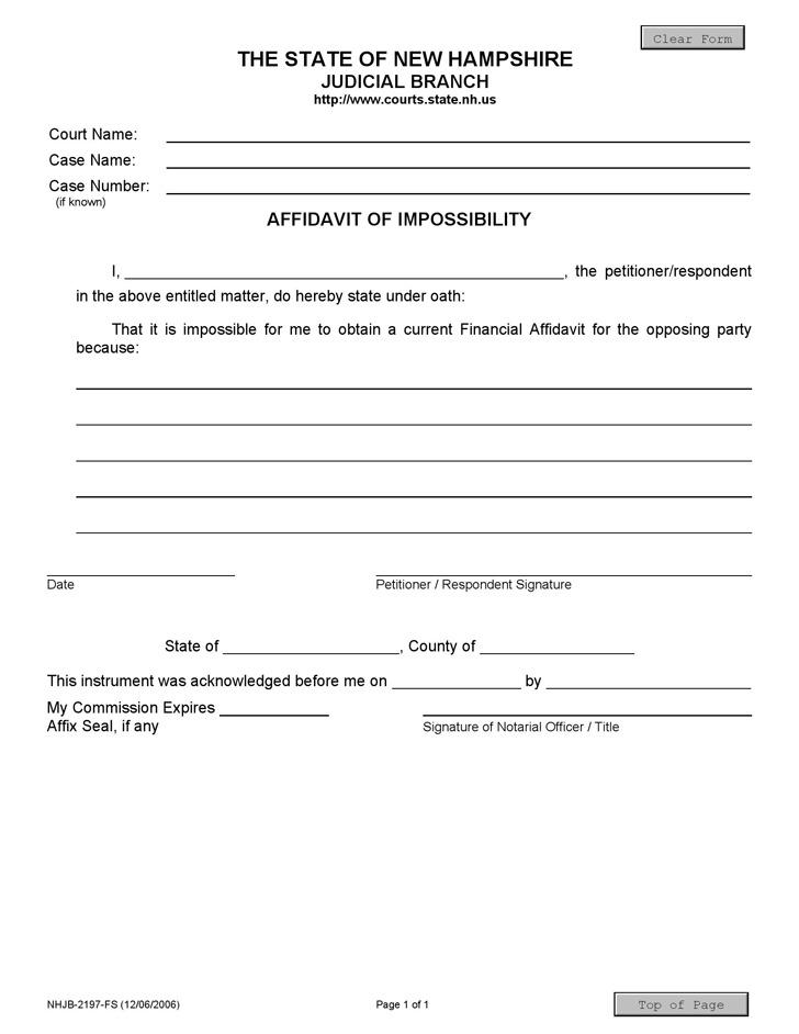 New Hampshire Affidavit of Impossibility Form