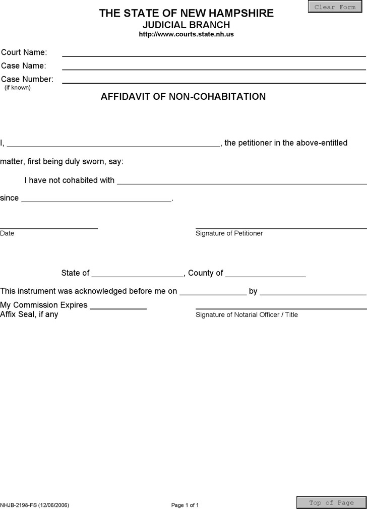 Affidavit Form Free. Affidavit Of Marriage Equivalency Affidavit