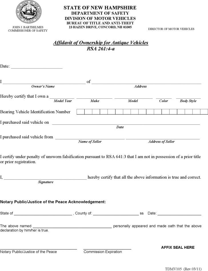 New Hampshire Affidavit of Ownership for Antique Vehicles Form