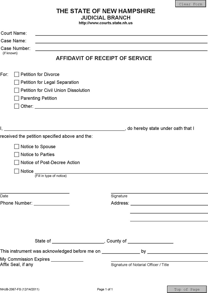 New Hampshire Affidavit of Receipt of Service Form