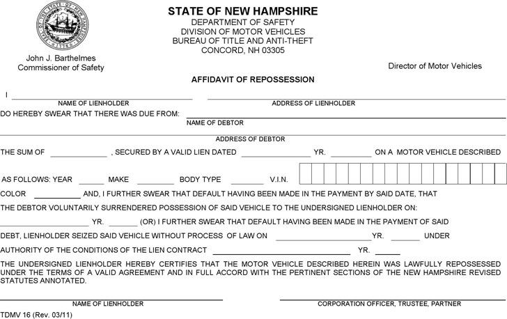 New Hampshire Affidavit of Repossession Form