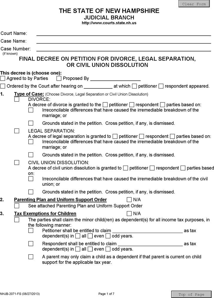 New Hampshire Final Decree on Divorce or Legal Separation Form