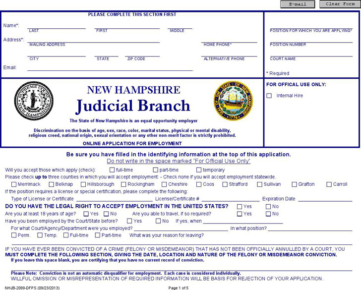 New Hampshire Judicial Branch Application for Employment