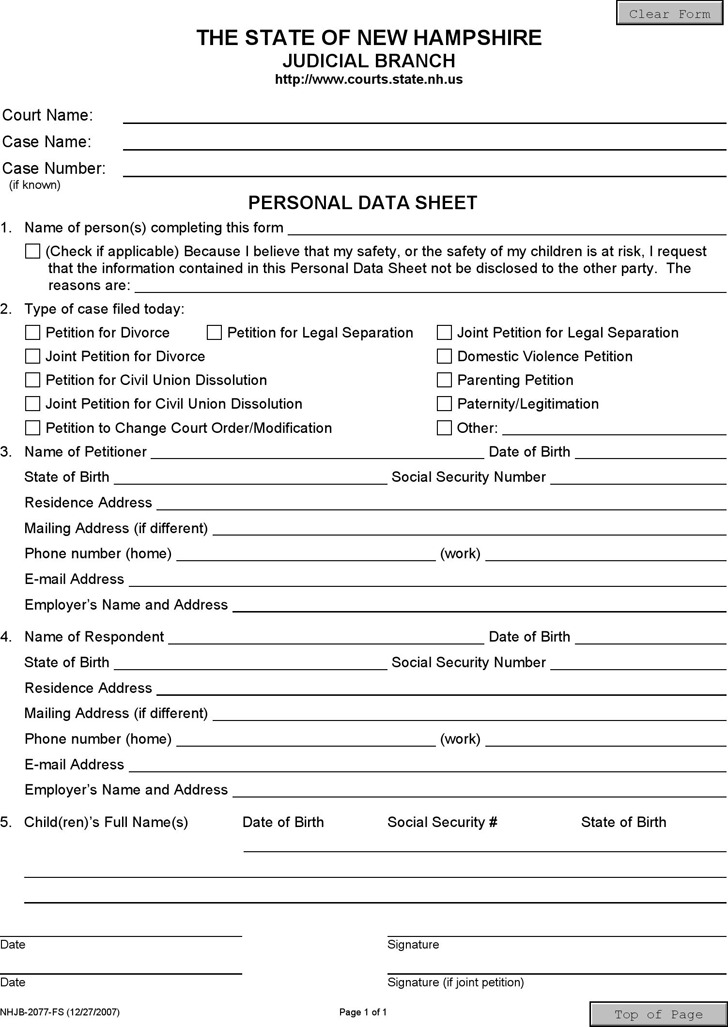 New Hampshire Personal Data Sheet