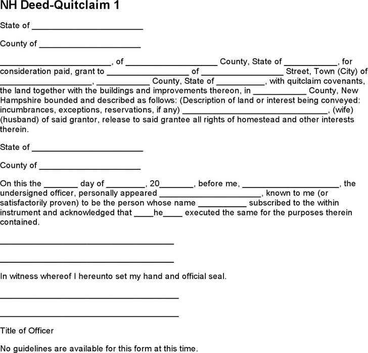 New Hampshire Quitclaim Deed Form