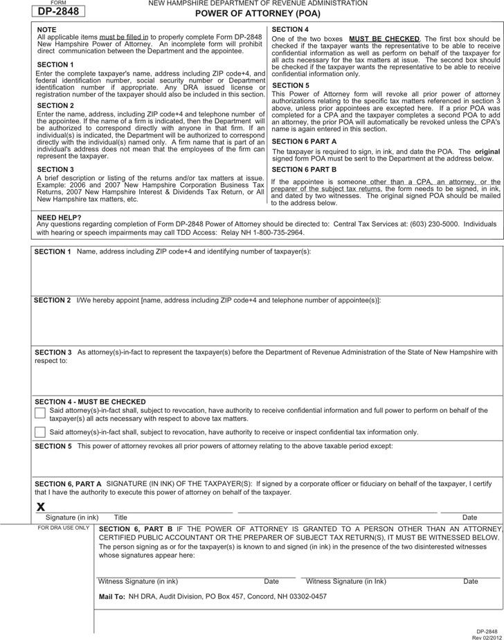 New Hampshire Tax Power of Attorney Form
