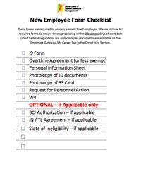 New Hire Paperwork Checklist Excel Format Template Download