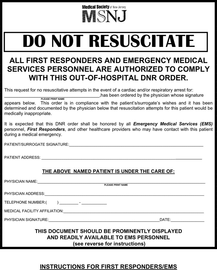 New Jersey Do Not Resuscitate Form  Download Free  Premium