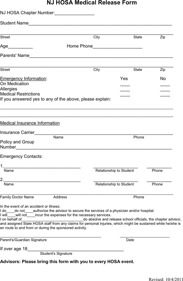 New Jersey HOSA Medical Release Form