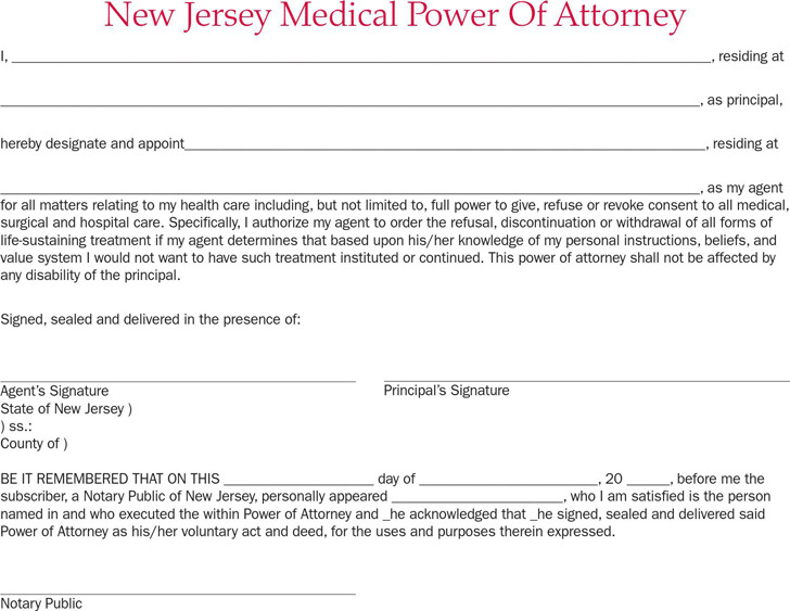 New Jersey Medical Power of Attorney Form