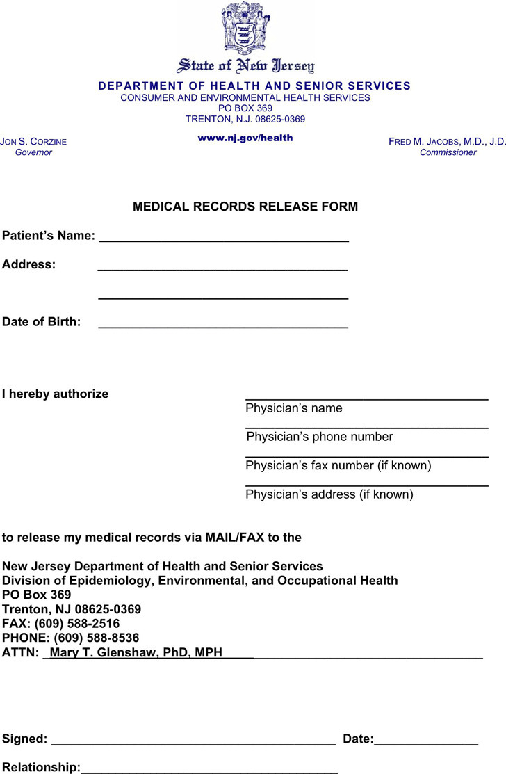 New Jersey Medical Records Release Form 1