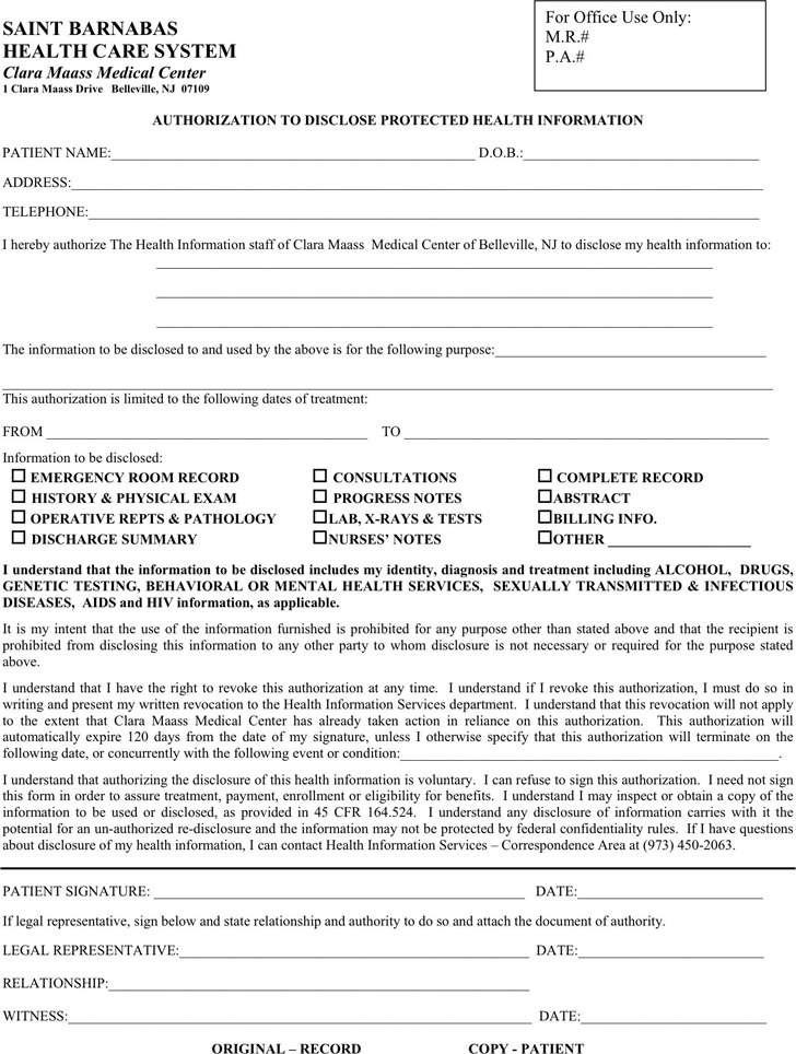 New Jersey Medical Records Release Form 2