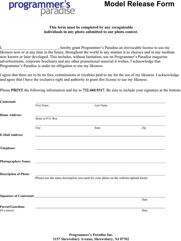 New Jersey Model Release Form