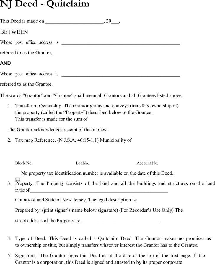 New Jersey Quitclaim Deed Form 1