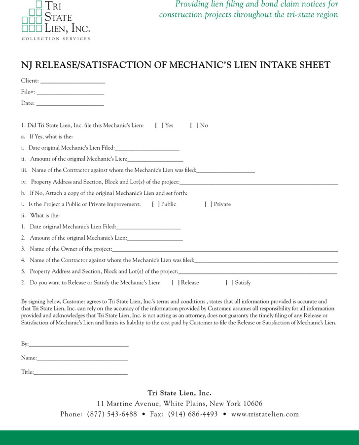 New Jersey Release of Mechanic's Lien