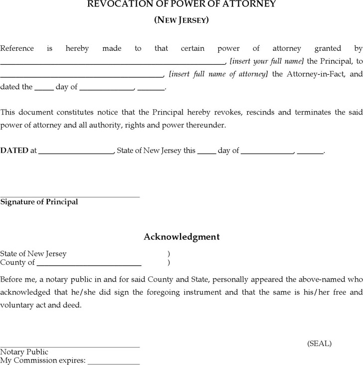 New Jersey Revocation of Power of Attorney Form