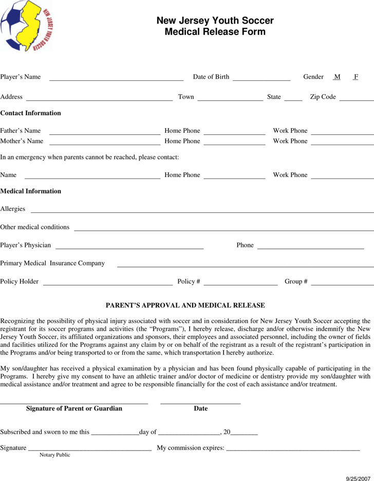 New Jersey Youth Soccer Medical Release Form