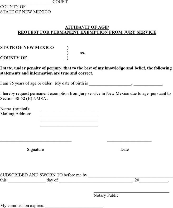 New Mexico Affidavit of Age/Request for Permanent Exemption from Jury Service Form