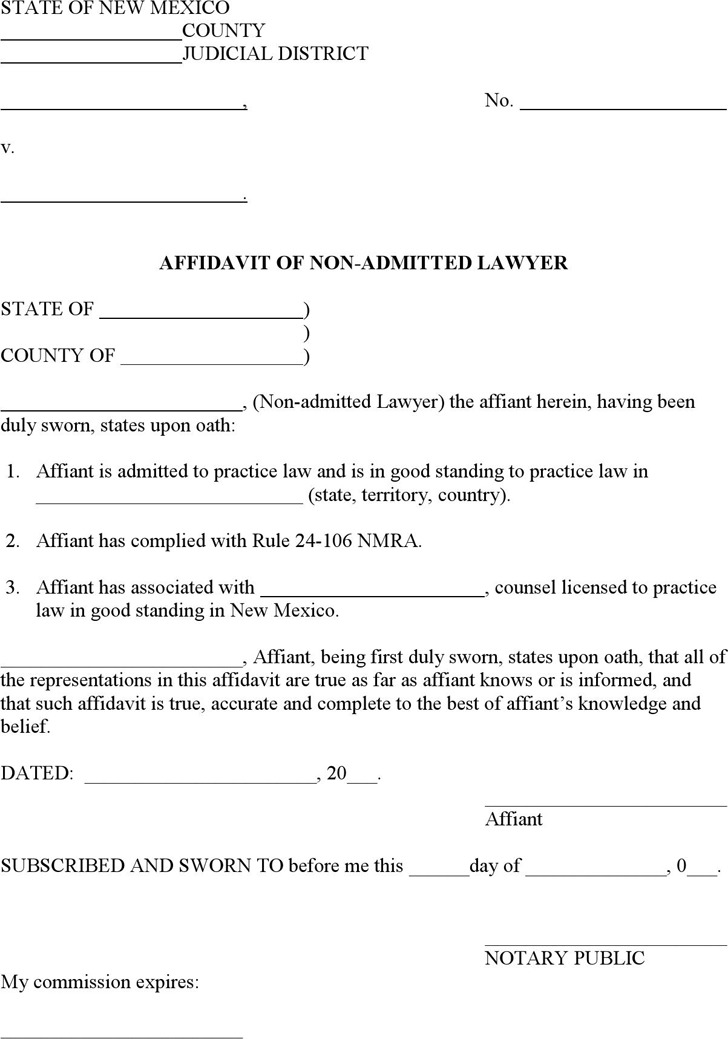 New Mexico Affidavit of Non-Admitted Lawyer Form