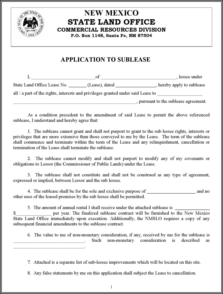 sublease contract template
