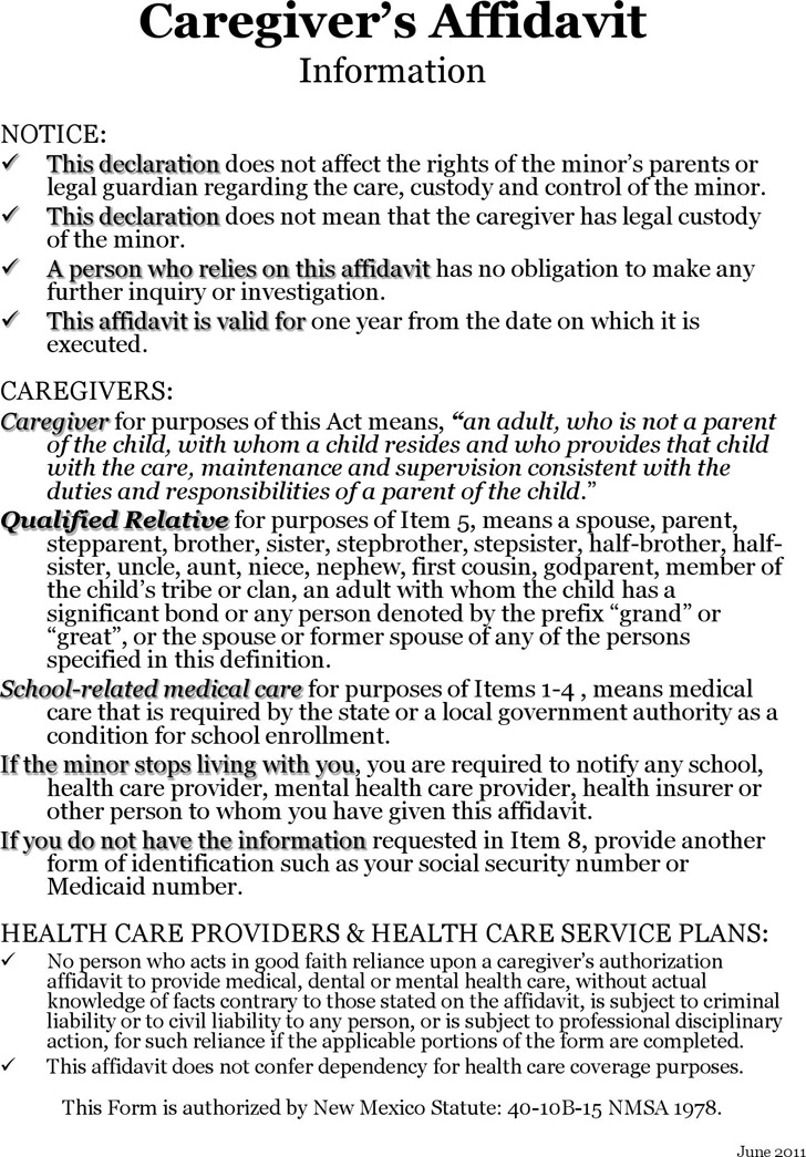 New Mexico Caregiver's Authorization Affidavit Form