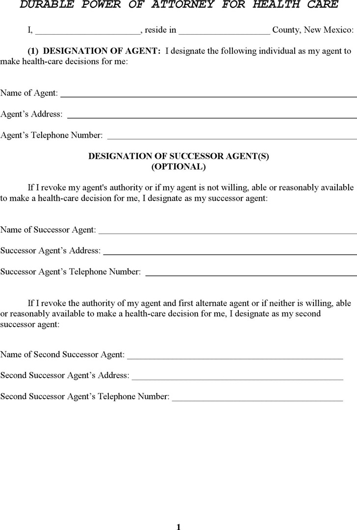 New Mexico Durable Power of Attorney for Health Care Form