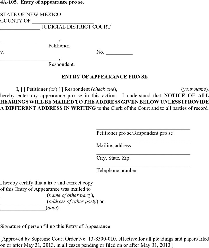 New Mexico Entry of Appearance pro se Form