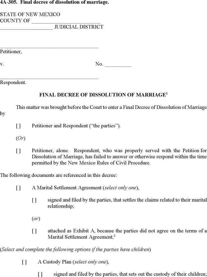 New Mexico Final Decree of Dissolution of Marriage Form