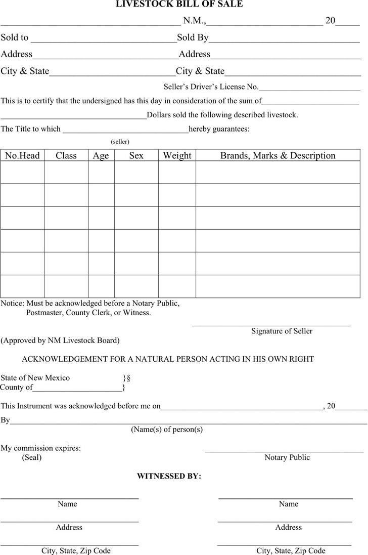 New Mexico Livestock Bill of Sale Form