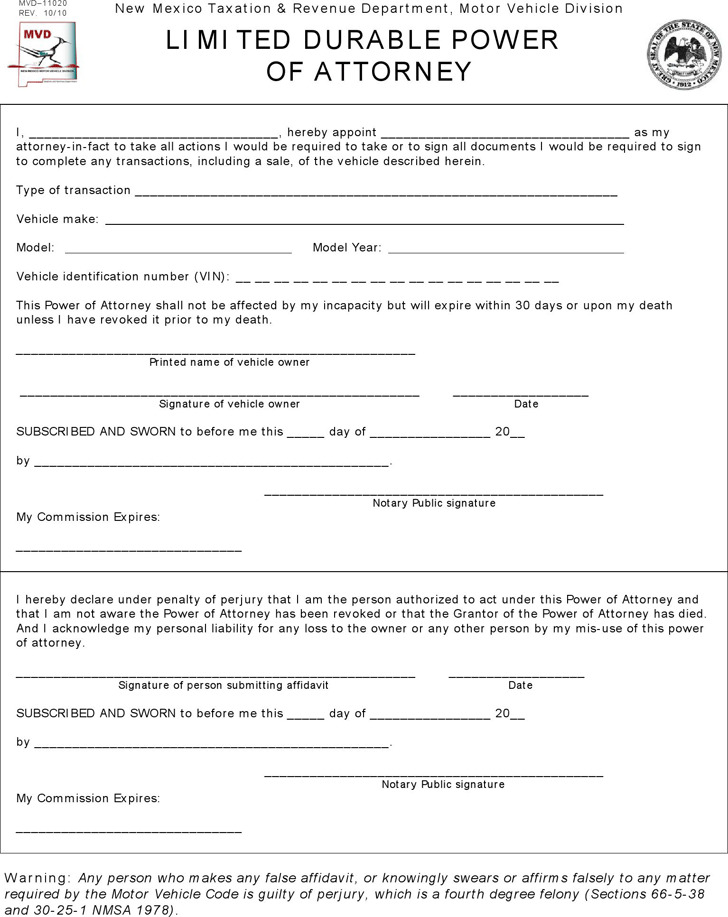 New Mexico Motor Vehicle Power of Attorney Form