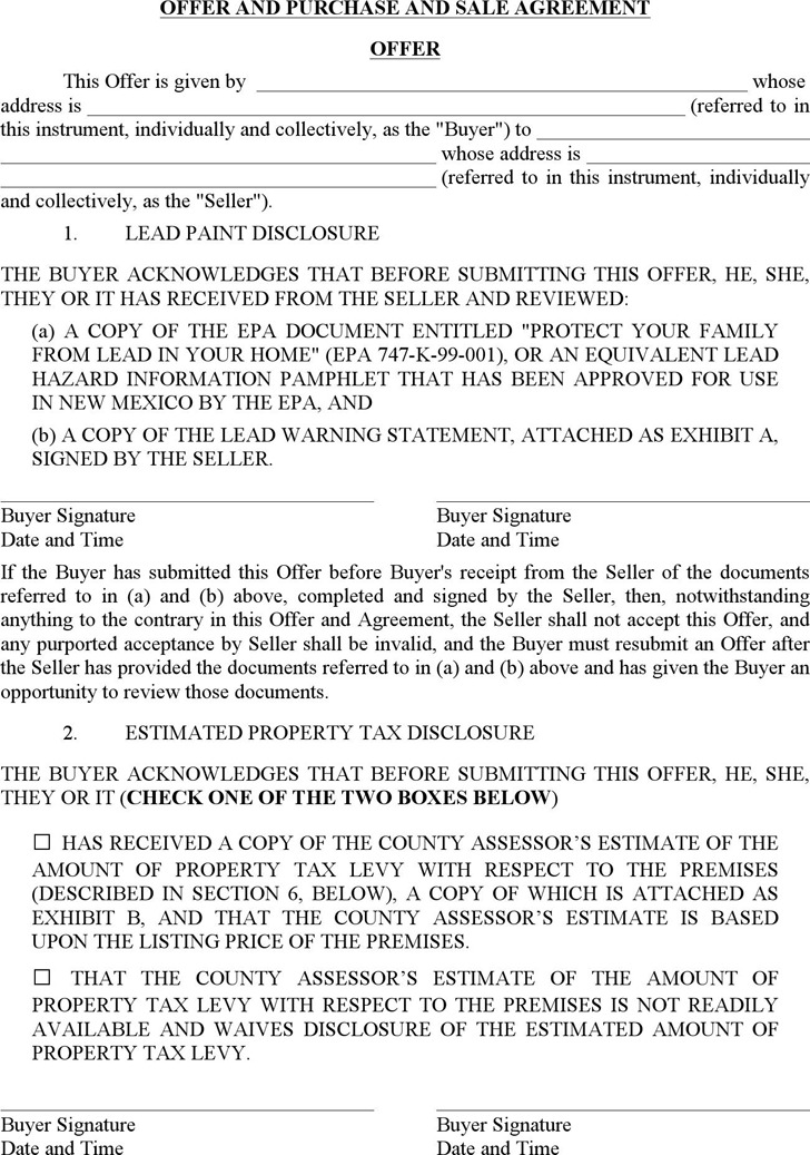 New Mexico Offer and Purchase and Sale Agreement Form