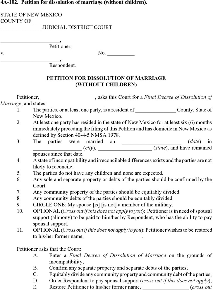 New Mexico Petition for Dissolution of Marriage (without Children) Form