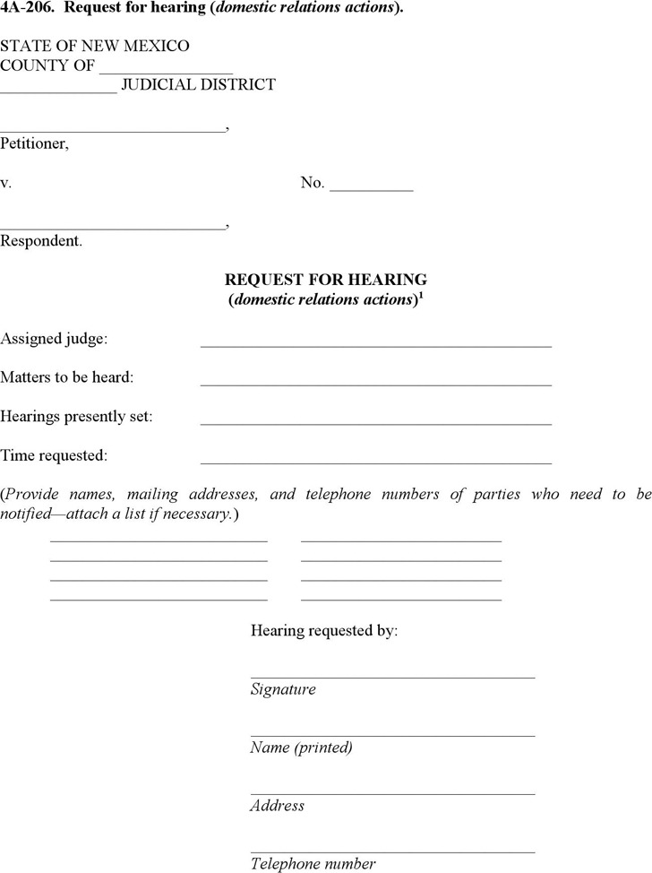 New Mexico Request for Hearing (Domestic Relations Actions) Form