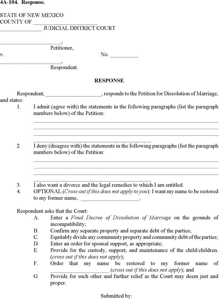 New Mexico Response Form