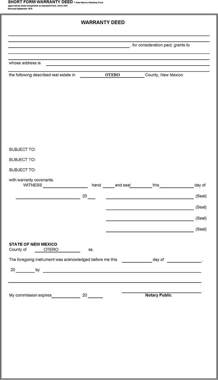 New Mexico Short Form Warranty Deed