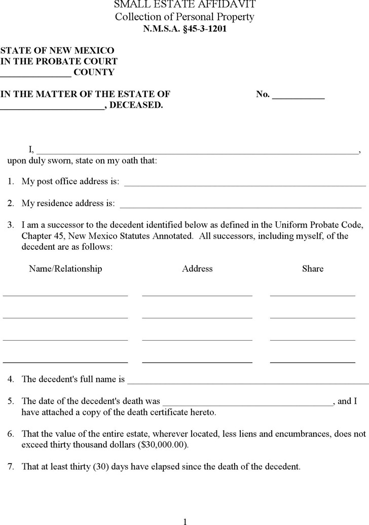 New Mexico Small Estate Affidavit Form