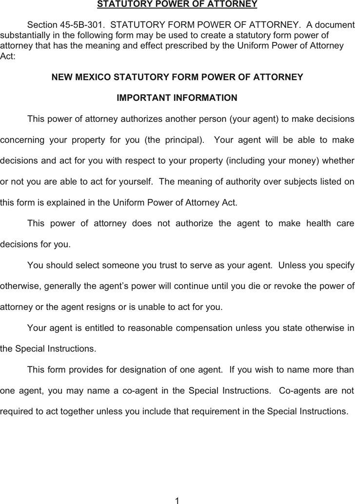 New Mexico Statutory Power of Attorney Form