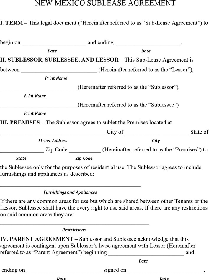 New Mexico Sublet Agreement