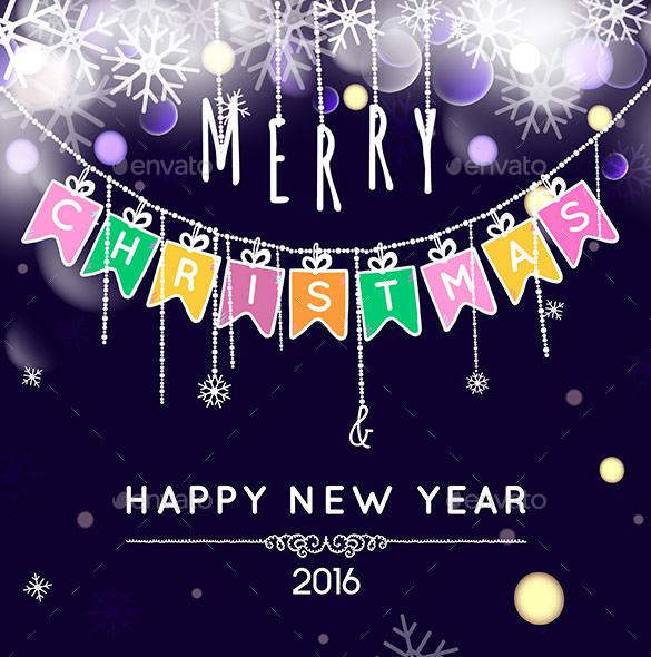 New Year Greetings Card Template Vector EPS