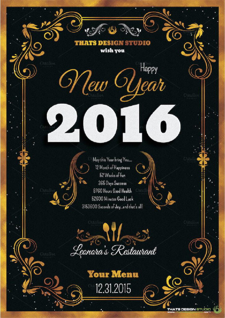 New Years Menu Template Download Free Premium Templates Forms