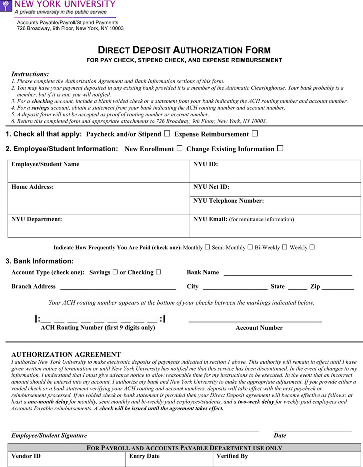 New York Direct Deposit Form 2