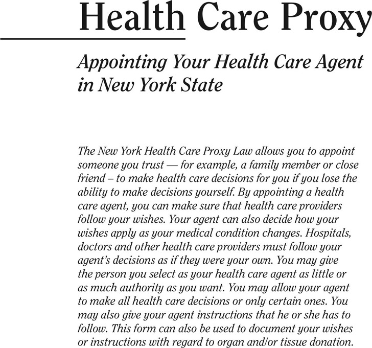 New York Health Care Proxy Form