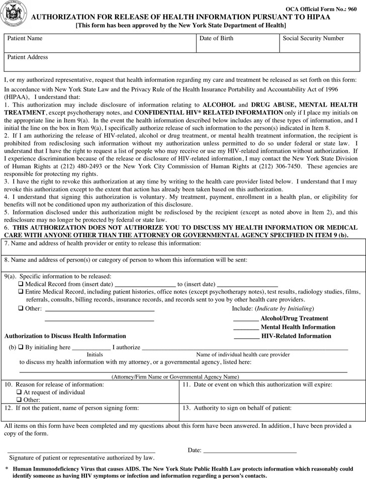 New York Medical Release Form  Download Free  Premium Templates