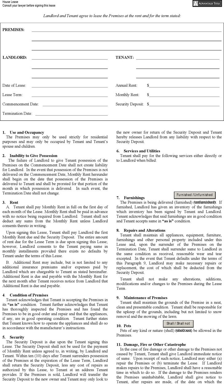New York House Lease Agreement Form